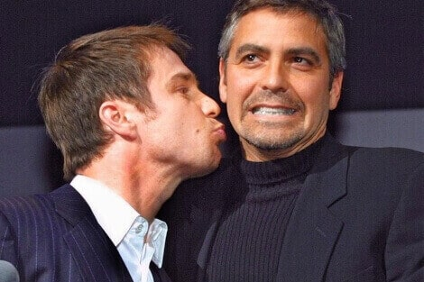 George Clooney gay kissing