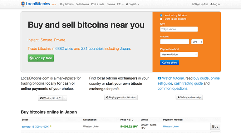 Buy and sell bitcoins near you