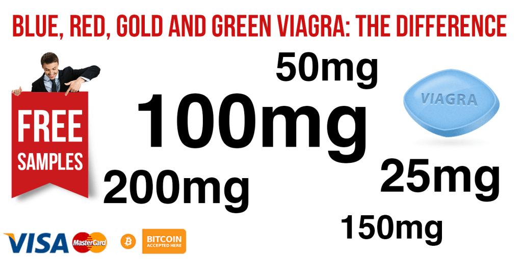 Blue, Red, Gold, and Green Viagra Difference