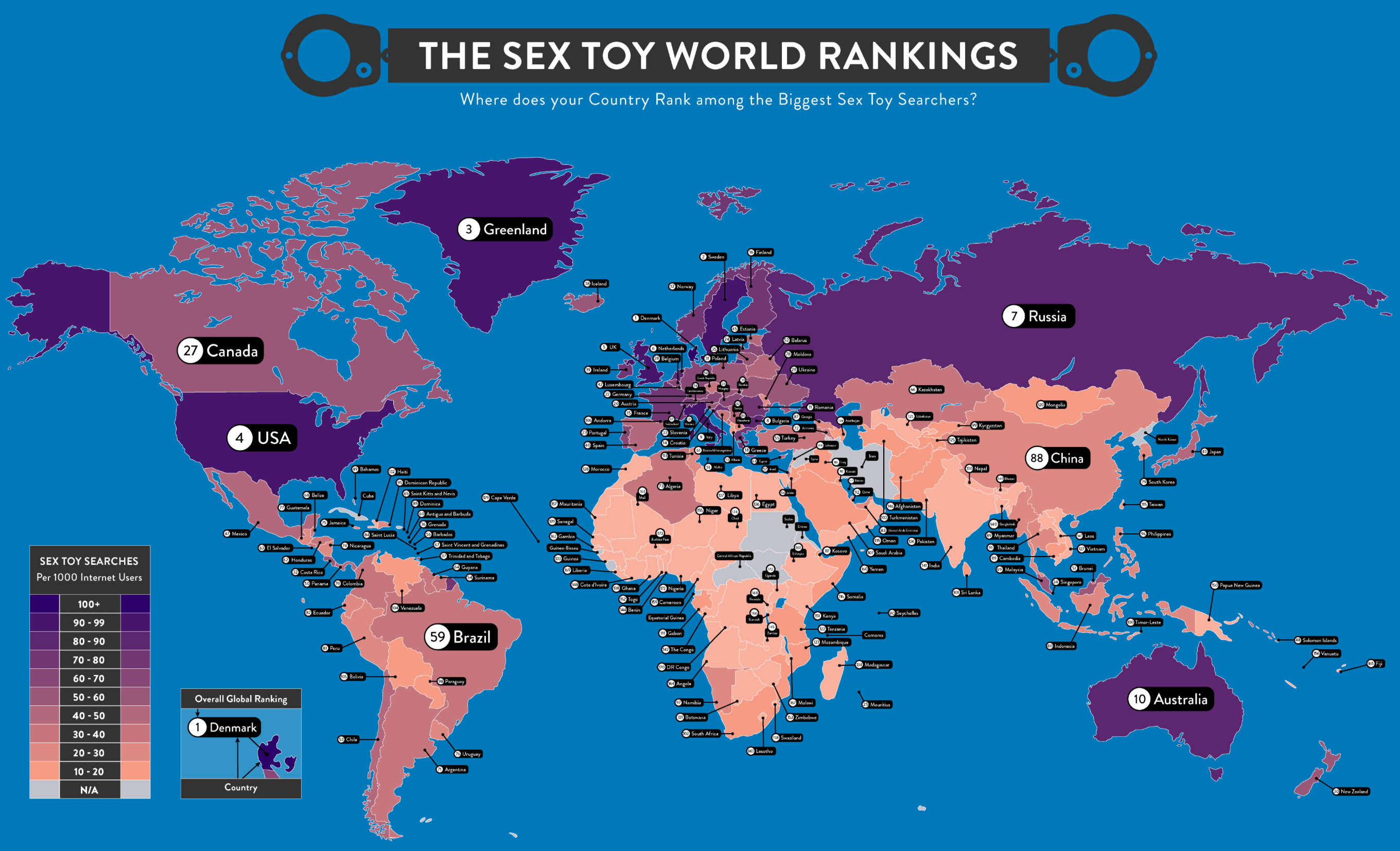 Countries that love sex toys on the map