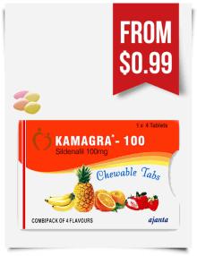 Kamagra Flavored Chewable Tabs 100 mg
